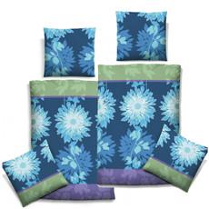 Biberna 635405-282 Bettwäsche Mako-Satin, Blumen, Blau