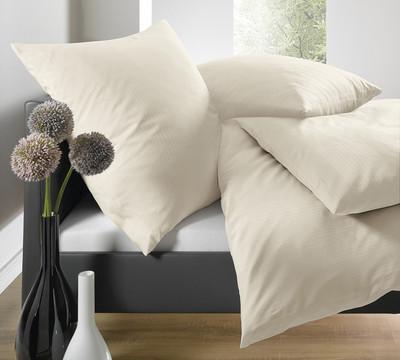 Schlafgut Bettwäsche Uni Mako-Satin Streifeneffekt Ecru-Creme