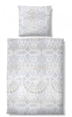 Biberna Maco-Baumwolle Bettwäsche 635770-017 grau Ornamente 100% Baumwolle