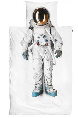 SNURK Kinder-Bettwäsche Astronaut aus 100% Bio-Baumwolle Fotodruck