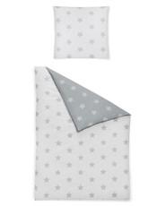 Irisette Biber Bettwäsche Dublin 8658-11 grau mit Sternen Wendeoptik wärmend