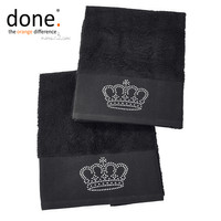 done.® BLACK LINE STONE CROWN Handtuch Set 2-tlg.schwarz