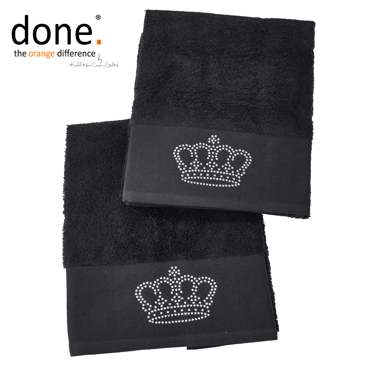 done black line stone crown handtuch set 2 tlg schwarz. Black Bedroom Furniture Sets. Home Design Ideas