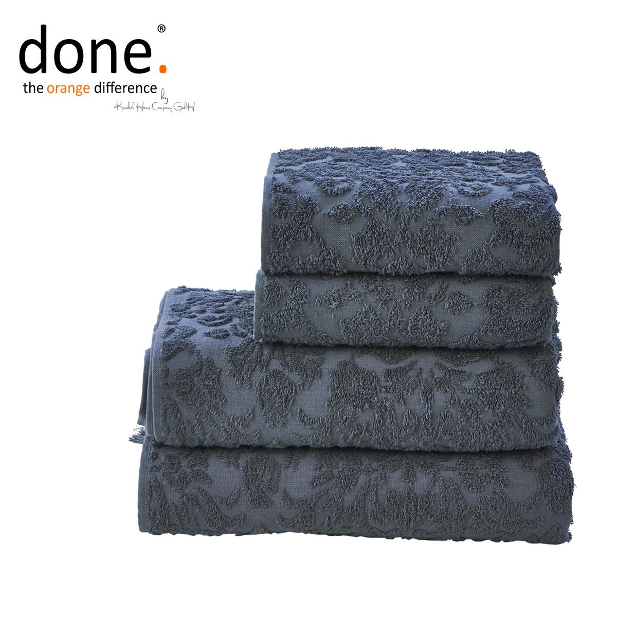 done provence ornaments handtuch set 4 tlg anthrazit. Black Bedroom Furniture Sets. Home Design Ideas