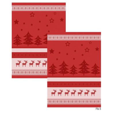 Ross Geschirrtücher 2-er Set Weihnachtsmotive, Elche, Sterne, Tannenbaum