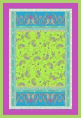 Bassetti Plaid | RAFFAELLO V3 grün - 135 x 190 cm Ornamente mediterran gesteppt
