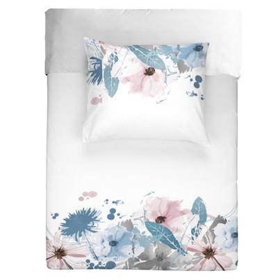 WALRA Bettwäsche Flower rain weis, rosa, blau  100% Baumwolle Blumenmuster