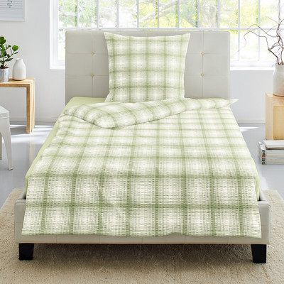 Irisette Bettwäsche Calypso 8737-30 Seersucker grün kariert 100% Baumwolle klassisch