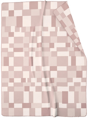 Biederlack Jacquard Wohndecke Nuance rosa Karomuster aus Baumwollmischung 150 x 200 cm