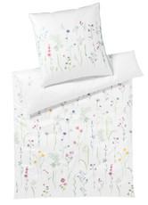 Elegante Mako-Satin Bettwäsche Wiesenblume 2234-0 weiß 100% Baumwolle