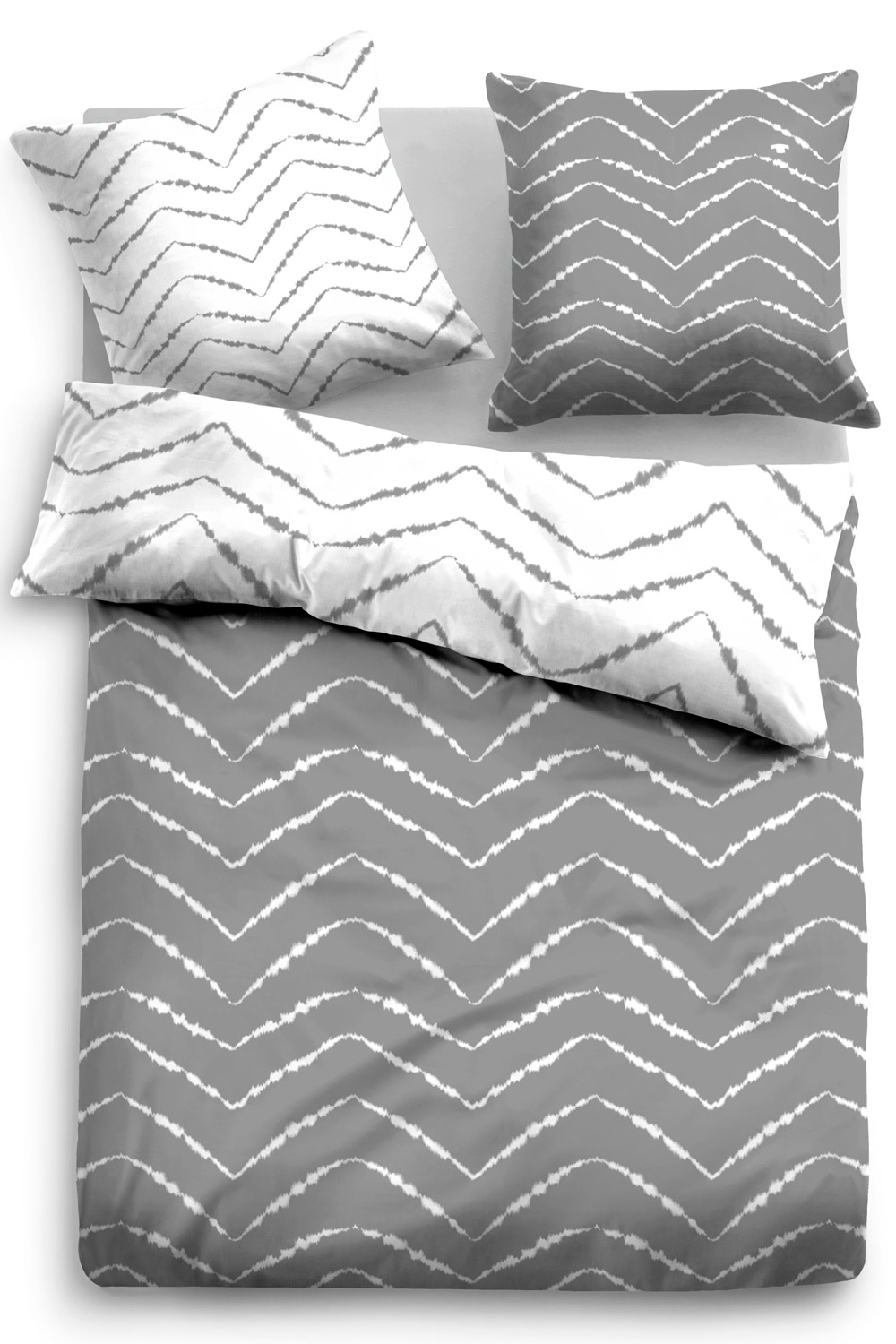 Tom Tailor Baumwoll Satin Bettwäsche Chevron Grau