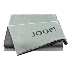 JOOP! Melange-Dubleface Wohndecke 150 cm x 200 cm Mintgrün-Grau Baumwollmischung