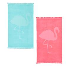 done.® Hamamtuch Capri Flamingo 100% Baumwolle 90 x 160 cm mit Fransen extra leicht