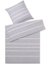 elegante Halbleinen Bettwäsche Relax 7047-09 grau-rose gestreift pflegeleicht