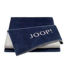 JOOP! Melange-Dubleface Wohndecke Marine-Grau 150 cm x 200 cm Baumwollmischung