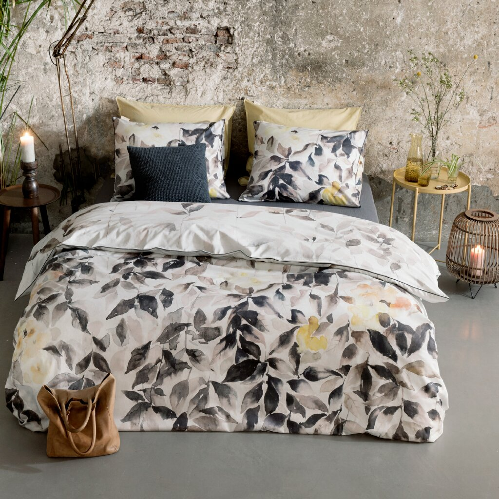 walra original baumwollsatin bettw sche rain of leaves stein. Black Bedroom Furniture Sets. Home Design Ideas