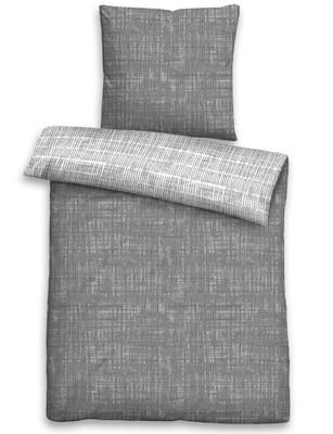 Biberna Fein-Biber Wendebettwäsche 3620-017 CHAOS-KARO-MIX sturmgrau aus 100 % Baumwolle