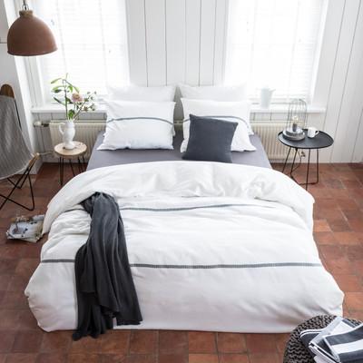 WALRA Baumwollsatin Bettwäsche Elegant Lines weiss 100 % Baumwolle