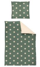Irisette Biber Wendebettwäsche Dublin Sterne grün 8025-30 aus 100% Baumwolle