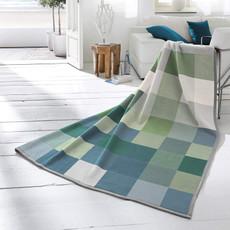 Biederlack Wohndecke Cotton Home 7 Check grün 150 x 200 cm  Baumwollmischung