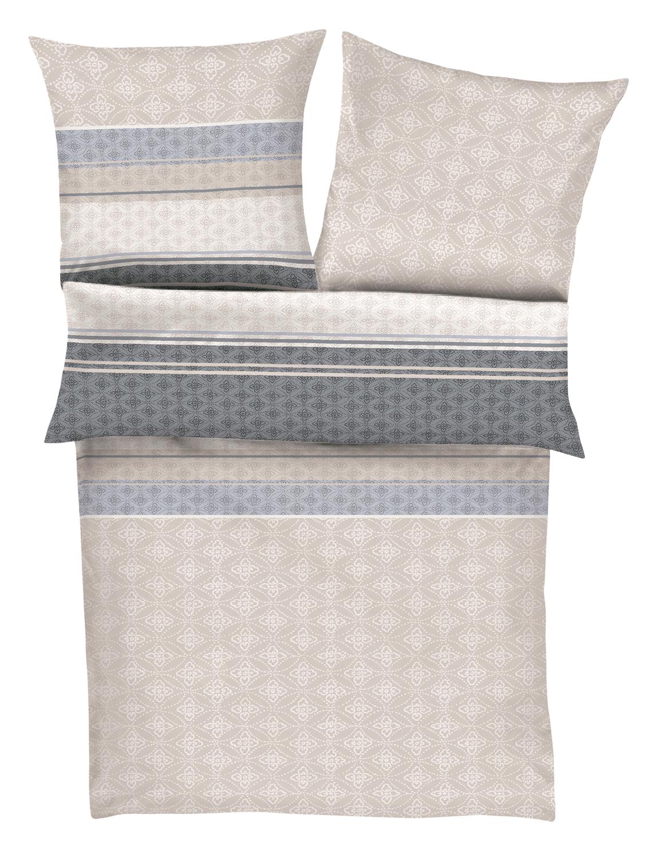 ibena feinflanell bettw sche zeitgeist 6117 380 beige grau. Black Bedroom Furniture Sets. Home Design Ideas