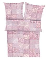 Ibena Zeitgeist Feinflanell Bettwäsche 6189-500 rosa Patchwork-Optik wärmend