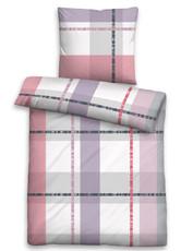 Biberna Fein-Biber Bettwäsche  8573-324 Karo-Muster flieder 100 % Baumwolle