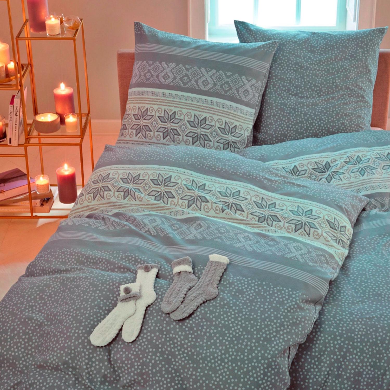 s oliver flanell bettw sche 135 x 200 cm norweger 2x bettw sche set 2x socken. Black Bedroom Furniture Sets. Home Design Ideas