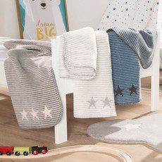 Ibena Jacquard Kinder Kuscheldecke LELU 75 x 100 cm baumwollmischung gestreift mit Sternen