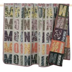 PAD Wohndecke MOIN multi  150 x 200 cm Baumwollmischung mit Schrift-Muster