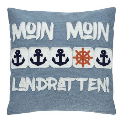 Pad Kissenhülle Moin Moin blau 40 x 40 cm maritim, bestickt mit RV