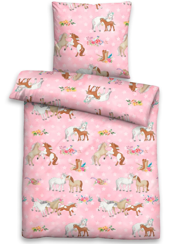 Biberna Linon Kinder Bettwäsche 44641 173 Ponys Rosa