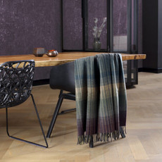 Biederlack Wolle-Kaschmir Plaid Striped Check 130 x 170 cm Streifen - Karo
