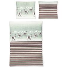 Irisette Biber Bettwäsche Feel Lama rot 8115-60 aus 100% Baumwolle gestreift