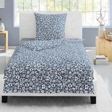 Irisette Biber Bettwäsche 8116-20 blau aus 100 % Baumwolle geblümt