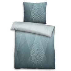 Biberna Baumwoll-Satin Bettwäsche 636080-222 blau 100% Baumwolle geometrisch