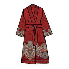 Bassetti Granfoulard Kimono Volterra R1 rot Ornamente