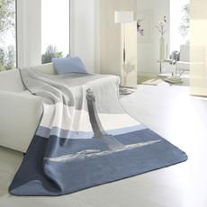 Biederlack Wohndecke Soft Cotton Trend Leuchtturm 150 x 200 cm blau maritim