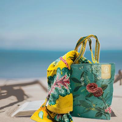 PIP Studio Strandlaken Jambo Beach gelb - 100 x 180 Blumenmuster Baumwolle